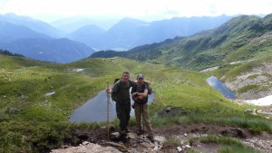 Club member Rinaldo Cis, hiking with Giuseppe Stefenelli and son, in July
