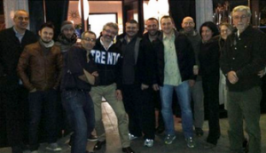 L to R: New club member Walter Pezzini, Luca's colleague Andrea with the leather jacket, Luca's colleague Lorenzo  with the beanie, Maico Campilongo, owner of Terún  Pizzeria, club member Matteo Baceda with the Trento jacket,  Luca Cattoi, Davide Carmeci, Luca Dorigatti, Rinaldo Cis,  Alice Amigassi, Christine Bologna and Tarcisio Pedrotti.