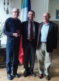 Jim Boin with Italian passport in hand, Consul General Mauro Battocchi, Michael Job !