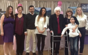 100th Birthday in Salinas: Kathy Ammann with granddaughter Erica, Genuina's great nephew-in-law and great niece Lorie, Genuina, great nieces visiting from Pieve di Bono in Trentino