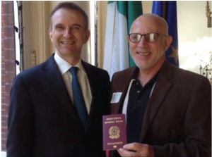 November 2015: Consul General Mauro Battocchi with elated Italian citizen, Michael Lawrence Job