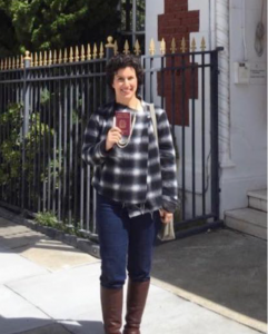 April 2016: Maria Mortati shows off her passport with glee in front of the Italian Consulate